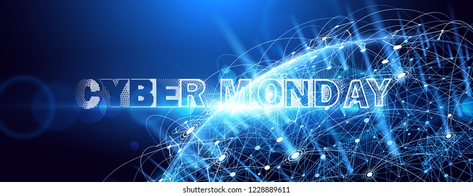Cyber Monday. Promotional Online Sale Event. Vector Technology illustration