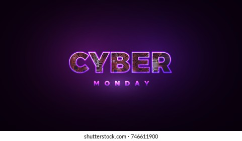 Cyber Monday. Promotional online sale event. Vector technology illustration. Futuristic label design. Textured purple neon light sign and circuit board pattern. Luminous cyber hologram