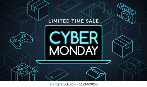 Cyber monday promotional sale: online shopping and e-commerce