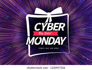 Cyber Monday purple banner with text composition, motion lines and glitter. Vector abstract background with sunlight and light. Design poster for promotion and sales