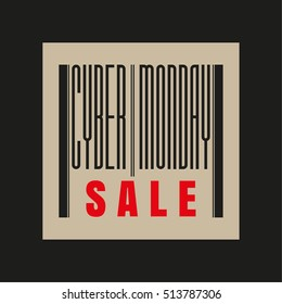 Cyber Monday red and black barcode inscription. Sale concept. Vector illustration.