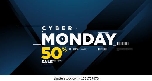 Cyber monday sale 50% banner on modern blue background. Cyber Monday promotion poster, flyer, banner, website, story, and social media template.