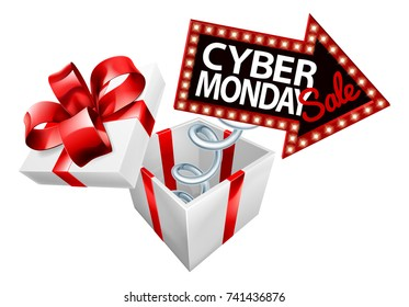 A Cyber Monday sale arrow sign springing out of a gift with a red bow ribbon