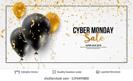 Cyber Monday Sale Background with balloons. Vector ad banner with editable copy space for holiday discounts and sales.