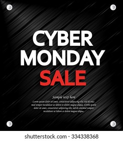 Cyber Monday Sale background with space for your text. Metal background. Vector illustration.