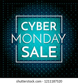 Cyber Monday Sale banner template. Dark background with white text Cyber Monday Sale. Vector illustration.