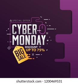 Cyber Monday Sale banner with trendy geometric background. Vector illustration.