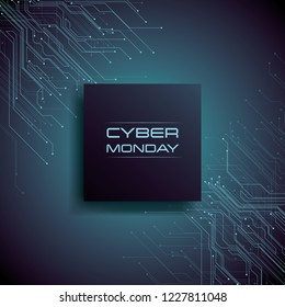 Cyber Monday sale banner vector concept with modern pcb circuit lines in background. Digital store, e-shop deals and special offers advertising and commercials. Eps10 vector illustration.