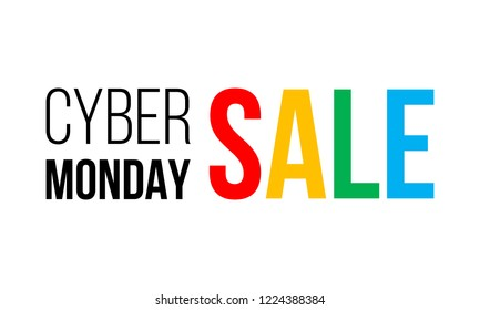 cyber monday sale, black and colorful vector text on white background