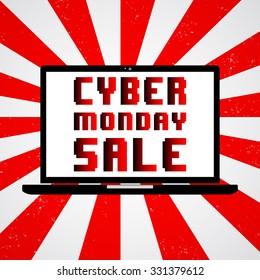 Cyber Monday Sale. Black laptop. Vector illustration.