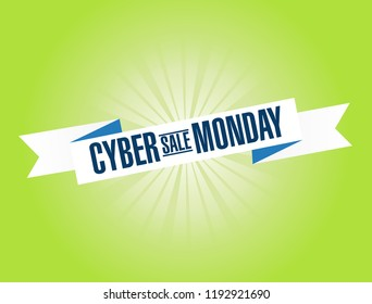 Cyber Monday Sale bright ribbon message isolated over a green background