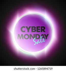 Cyber monday sale circle banner. Text letter cyber monday sale round poster. Advertising design illustration. Shine cyber monday sale lettering banner. Seasonal holidays discounts radiance promo offer