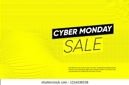 Cyber Monday sale cover. Bright Yellow background with abstract dots. place for text. creative minimal design for social media, ad, promotion, sale, billboard, banner, poster.