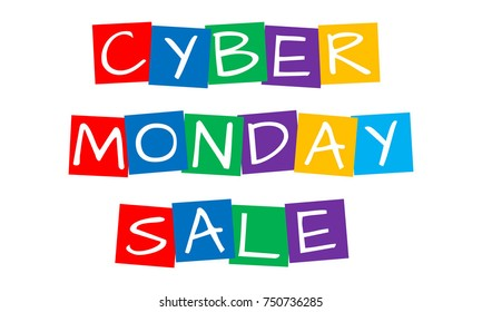 cyber monday sale, cut out vector letters in rainbow squares