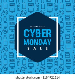 Cyber Monday Sale design on Computer technology seamless pattern. Vector Illustration