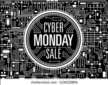 Cyber monday sale design template. Futuristic technology background. Black cybermonday horizontal banner. Vector illustration.