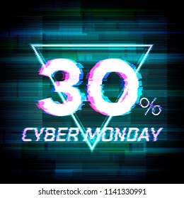 Cyber monday sale discount poster or banner with triangle sign and glitch text up to 30% off