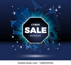 Cyber monday sale discount poster or banner with shiny emblem, lines and triangles in technology style