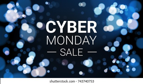 Cyber Monday Sale Flyer Design With White Lights Bokeh On Blue Background Holiday Discount Poster Banner Vector Illustration