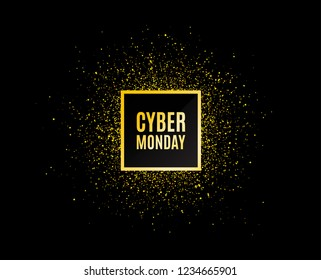 Cyber Monday Sale. Gold glitter banner. Special offer price sign. Advertising Discounts symbol. Christmas sales background. Abstract shopping banner tag. Template for design. Cyber Monday Vector