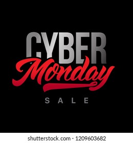 Cyber Monday Sale handmade lettering, calligraphy for banners, labels, badges, prints, posters, web. Vector illustration.