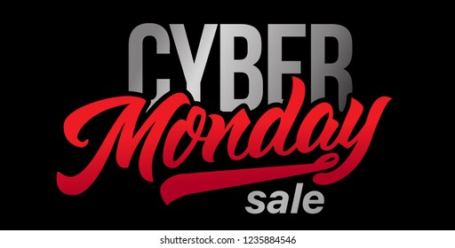 Cyber Monday Sale handmade lettering, calligraphy for banners, labels, badges, prints, posters, sales, web. Vector typography illustration. Isolated black background.