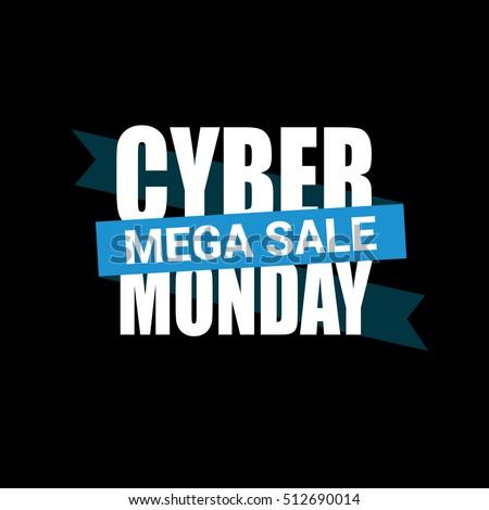 cyber monday sale inscription design template のベクター画像素材