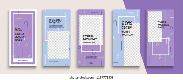 Cyber Monday Sale Instagram Stories template. Streaming.