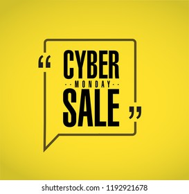 Cyber Monday Sale line quote message concept isolated over a yellow background