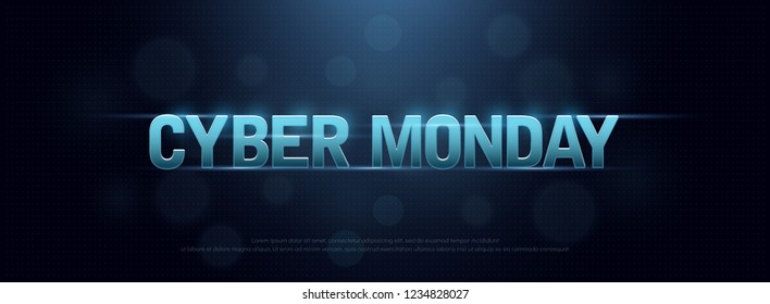Cyber monday sale logo technology design concept. Letters on dark blue background. Digital shopping discount. vector illustration