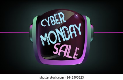 Cyber Monday Sale neon banner vector design template. Cyber Monday Big discounts neon hand painted on astronaut helmet logo , colorful modern design trend, bright sign. Vector.