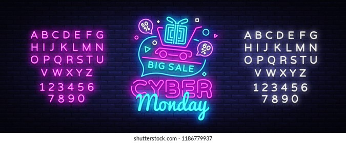 Cyber Monday Sale neon sign vector. Cyber Monday Bid discount Design template neon sign, light banner, neon signboard, nightly bright advertising, light inscription. Vector. Editing text neon sign