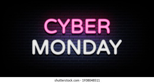 Cyber monday sale neon sign vector. cyber monday design template neon sign
