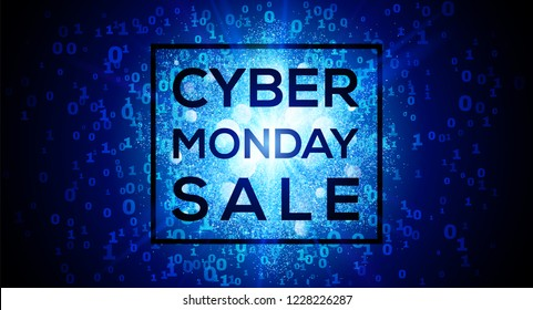 Cyber Monday Sale on digital binary code 1 and 0 numbers blue vector background