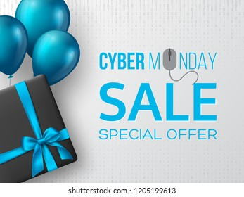 Cyber monday sale poster or banner for seasonal discounts. Black box with realistic silk blue bow and balloons on code background. Sale concept. Vector illustration. - Shutterstock ID 1205199613