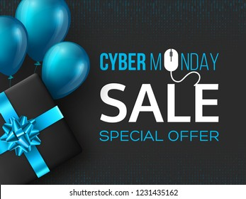 Cyber monday sale poster or banner for seasonal discounts. Black box with realistic blue bow and balloons on code background. Sale concept. Vector illustration.