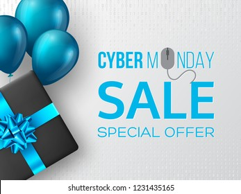 Cyber monday sale poster or banner for seasonal discounts. Black box with realistic blue bow and balloons on code background. Sale concept. Vector illustration. - Shutterstock ID 1231435165