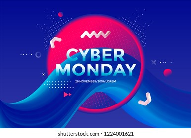 Cyber Monday sale poster design with Creative 3d flow shape on blue background. Vector gradient trendy illustration