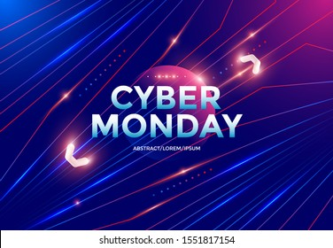 Cyber Monday sale poster design with dynamic gradients lines and shapes on blue background. Vector neon illustration for online discount banner.