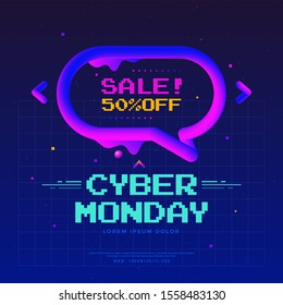 Cyber Monday Sale poster design with geometric flow shape. Neon color discount banner with 3d blend speech bubble. Futuristic frame illustration with pink and blue graphic elements.
