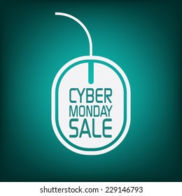 Cyber monday sale poster with mouse on green background for advertisement. Eps10 vector illustration