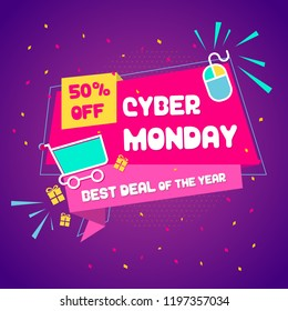 Cyber Monday sale poster vector illustration