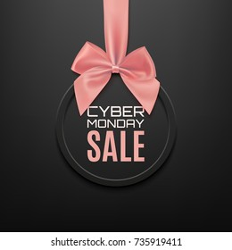 Cyber Monday sale round banner with red ribbon and bow, on black background. Brochure or banner template. Vector illustration.