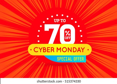 Cyber Monday Sale Sign Banner Poster ready for Web and Print. Vector. Super, Mega, Huge Sale with Special Offer