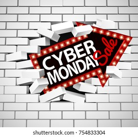 A Cyber Monday sale sign breaking through a white brick wall