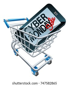 A Cyber Monday sale sign on a mobile phone in a supermarket shopping cart trolley