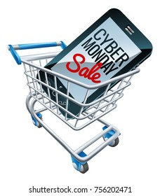 A Cyber Monday sale sign on a mobile phone screen in a shopping supermarket cart trolley