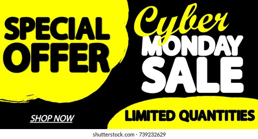Cyber Monday Sale, special offer, poster design template, vector illustration