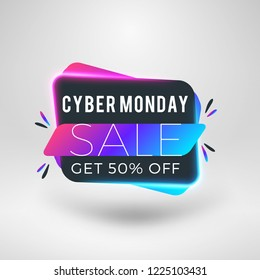 Cyber Monday sale sticker. Discount banner. Special offer sale tag. Vector illustration.