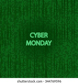 Cyber monday sale symbol and online sales concept as an internet holiday celebration for product discounts on websites on binary background.
